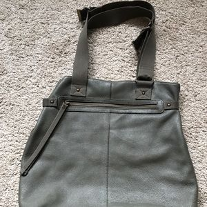 GAP green leather tote